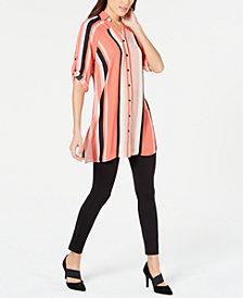 Alfani Petite Striped Tunic, Created for Macy's