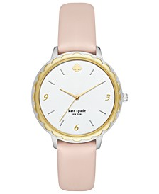 Women's Scallop Pale Vellum Leather Strap Watch 38mm