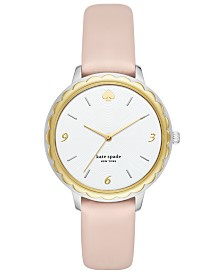 kate spade new york Women's Scallop Pale Vellum Leather Strap Watch 38mm