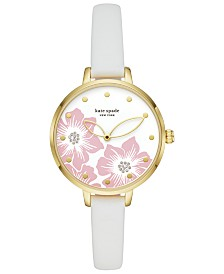 kate spade new york Women's Skinny Metro White Leather Strap Watch 34mm