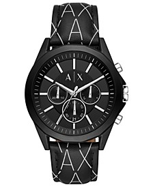 Men's Chronograph Drexler Black Leather Logo Strap Watch 44mm