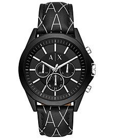 A X Armani Exchange Men's Chronograph Drexler Black Leather Logo Strap Watch 44mm