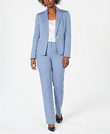 Le Suit Petite Textured One-Button Pantsuit
