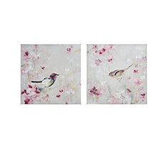 Madison Park Lovely Birds Hand Brush Embellished Canvas, Set of 2