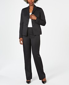 Le Suit Pinstriped Pant Suit