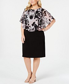 Plus Size Chiffon-Popover Sheath Dress