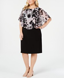 Connected Plus Size Chiffon-Popover Sheath Dress
