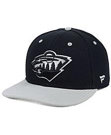 Authentic NHL Headwear Minnesota Wild Blackout Emblem Snapback Cap