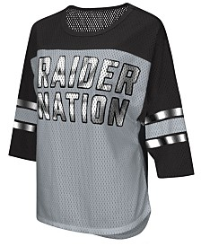 G-III Sports Women's Oakland Raiders Team Sleeve Stripe T-Shirt