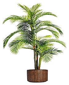 "88.8"" Tall Palm Tree Artificial Indoor/ Outdoor Lifelike Faux In 12.8"" Brown Wood-like Fiberstone Planter"