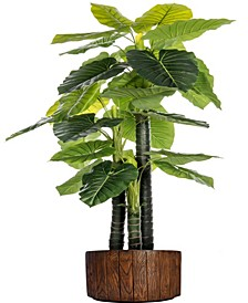 "76.8"" Tall Indoor-Outdoor Elephant Ear Plant Artificial  Decorative Faux In 12.8"" Brown Wood-like Fiberstone Planter"