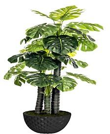 """Laura Ashley 77.6"""" Tall Indoor-Outdoor Monstera Ceriman Artificial Indoor/ Outdoor Lifelike Faux in 13.6"""" Black Honeycomb Fiberstone Planter"""