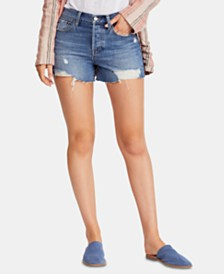 Free People Sofia Cotton Distressed Raw-Hem Shorts