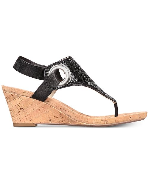 00c0e173de69 White Mountain All Done Wedge Thong Sandals   Reviews - Sandals ...