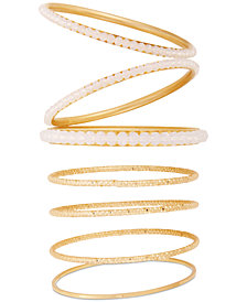 GUESS Gold-Tone 7-Pc. Set Beaded Bangle Bracelets