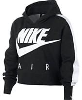 96483c7c299 Nike Big Girls Cropped Air-Print Fleece Hoodie