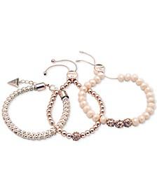 Rose Gold-Tone 3-Pc. Set Pavé Bead & Nylon Cord Bracelets