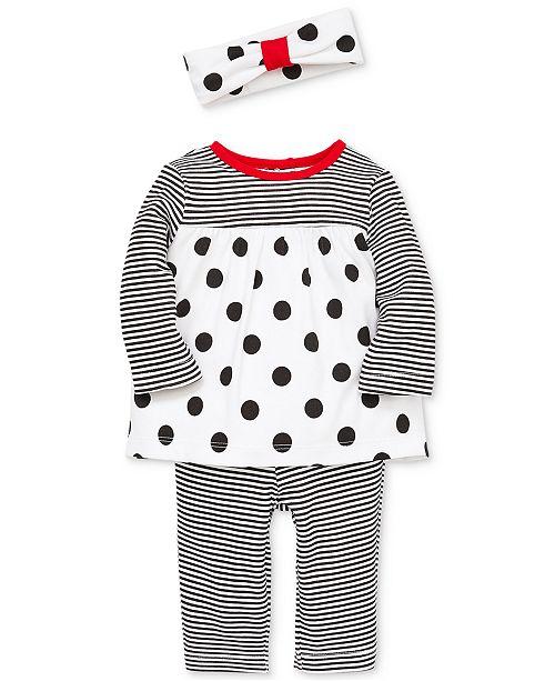 e515e0ede6d85 Little Me Baby Girls 3-Pc. Stripe & Dot Tunic, Leggings & Headband ...