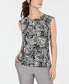 Kasper Petite Printed Pleated-Neck Top