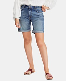 Free People Ivy Cotton Cuffed Denim Shorts