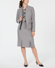 Kasper Stand-Collar Blazer, Printed Shell & Pleated Skirt