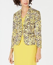 Nine West Printed Kiss-Front Blazer