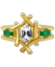 Kesi Jewels Multi-Gemstone (1-1/4 ct. t.w.) & Diamond Accent Bamboo-Look Ring in 14k Gold