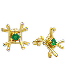 Kesi Jewels Green Agate (1/4 ct. t.w.) & Diamond and White Topaz Accent Stud Earrings in 18k Gold over Sterling Silver
