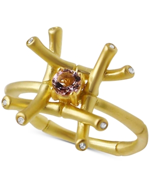 Kesi Jewels Pink Amethyst (1/4 ct. t.w.) & Diamond and White Topaz Accent Ring in 18k Gold-Plated Sterling Silver