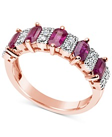 Certified Ruby (3-1/6 ct. t.w.) and Diamond (1/6 ct. t.w.) Ring in 14k Rose Gold