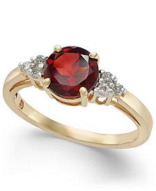 Garnet (1-5/8 ct. t.w.) & Diamond (1/10 ct. t.w.) Ring in 14k Gold