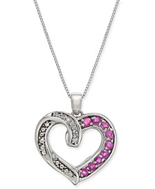"Ruby (3/4 ct. t.w.) & Diamond Accent 18"" Pendant Necklace in Sterling Silver"