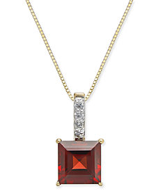 "Rhodolite Garnet (2-1/10 ct. t.w.) & Diamond Accent 18"" Pendant Necklace in 14k Gold"