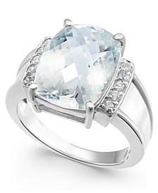 Aquamarine (6-1/4 ct. t.w.) & Diamond (1/10 ct. t.w.) Statement Ring in Sterling Silver