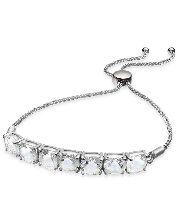 Macy's - Aquamarine (9-3/8 ct. t.w.) Bolo Bracelet in Sterling Silver