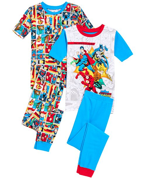 AME DC Comics Little & Big Boys 4-Pc. Justice League Cotton Pajama Set