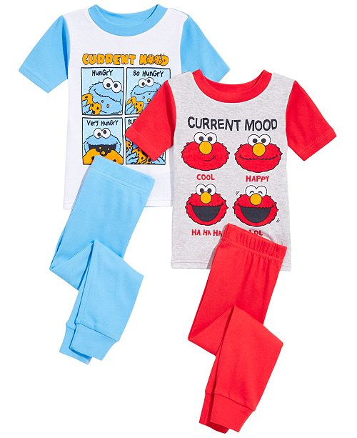 AME SesStreet Toddler Boys 4-Pc. Sesame Street Cotton Pajama Set