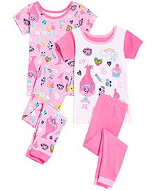 Trolls by DreamWorks Toddler Girls 4-Pc. DreamWorks Trolls Cotton Pajama Set