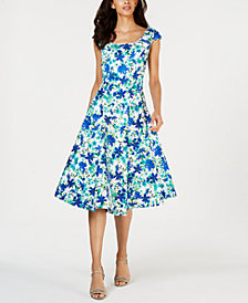 Calvin Klein Floral-Print Fit & Flare Dress
