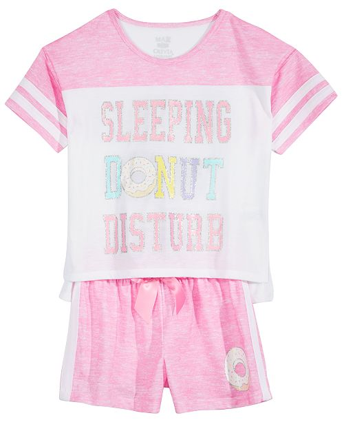 Max & Olivia Big Girls 2-Pc. Striped Pajama Set