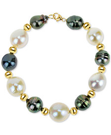 Cultured Baroque Freshwater Pearl (12-13mm) and Black Tahitian Pearl (8-10mm) Bracelet in 14k Gold