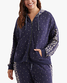 Lucky Brand Trendy Plus Size Cotton Floral-Print Hoodie