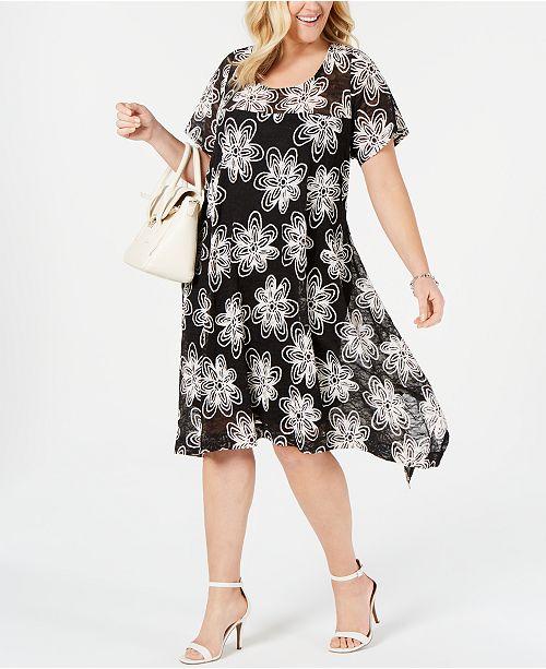 47da1758f62 Plus Size Embroidered Lace Handkerchief-Hem Dress