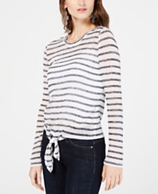 I.N.C. Striped Tie-Front Top, Created for Macy's