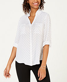 BCX Juniors' Dot-Print Utility Shirt