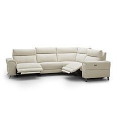 """CLOSEOUT! Raymere 122"""" 4-Pc. Fabric Sectional Sofa with 2 Power Motion & Power Headrests"""