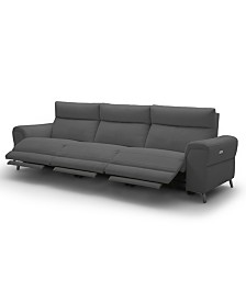 """Raymere 119"""" 3-Pc. Fabric Sofa with 3 Power Motion & Power Headrests"""