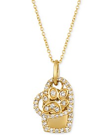 """Le Vian® Nude Diamond Paw, Heart & Dog Tag Charm 20"""" Pendant Necklace (1/3 ct. t.w.) in 14k Gold"""