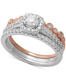 3-Pc. Two-Tone Diamond Bridal Ring Set (3/4 ct. t.w.) in 14k White & Rose Gold