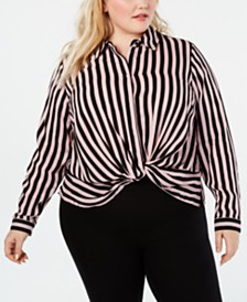 I.N.C. Plus Size Striped Twist-Front Shirt, Created for Macy's
